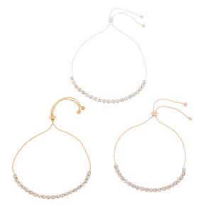 Mixed Metal Rhinestone Adjustable Bracelets - 3 Pack,