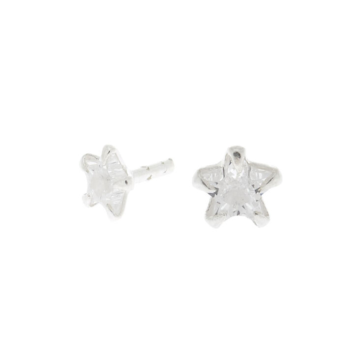 Silver 16G Cubic Zirconia Star Tragus Stud Earring,
