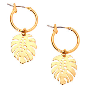 Gold 10MM Leaf Charm Hoop Earrings,