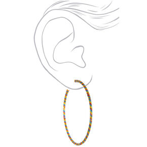 Silver Metallic 60MM Hoop Earrings - Yellow,