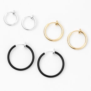 Mixed Metal Clip On Hoop Earrings - 10MM, 15MM, 20MM,