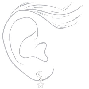 Sterling Silver Open Moon Star Stud Earrings,