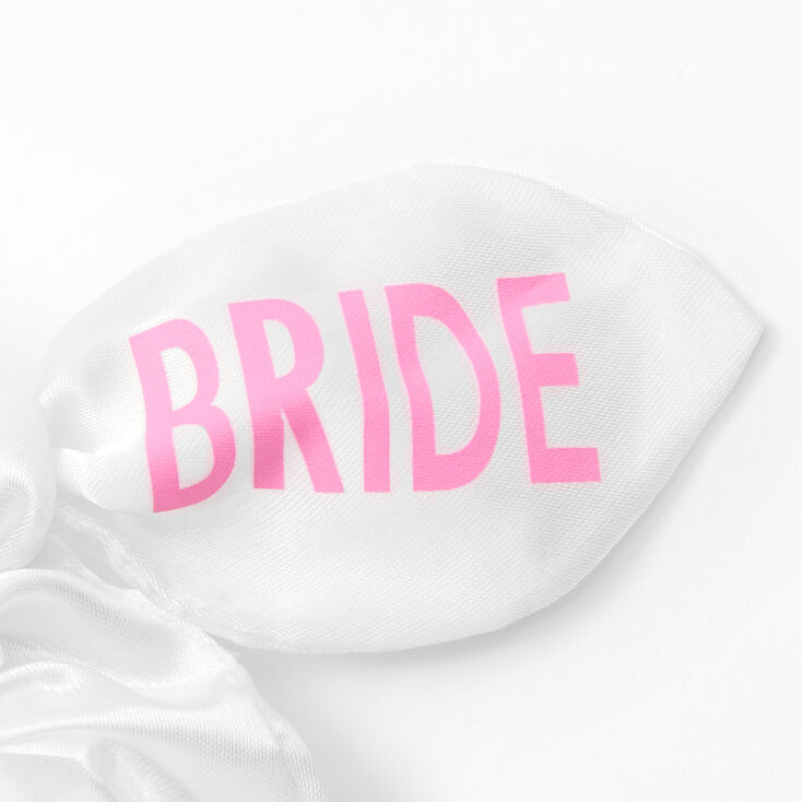 Small Satin Bride Knotted Bow Hair Scrunchie - White,