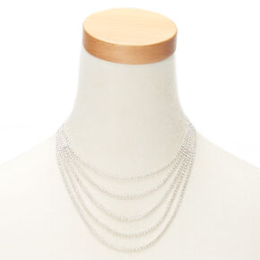 Silver Rhinestone Layered Swag Statement Necklace,