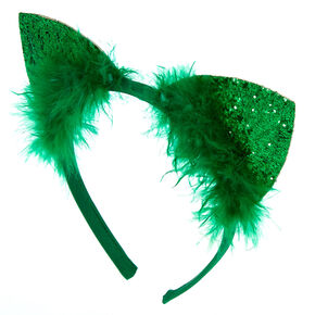 Furry Glitter Cat Ears Headband - Green,