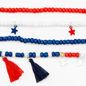 Red, White, And Bue Beaded Tassel Bracelets - 4 Pack,