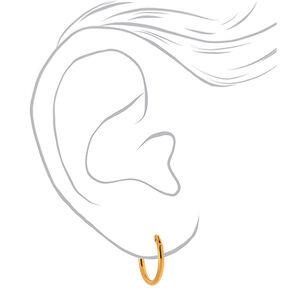 18kt Gold Plated Hinged Hoop Earrings - 3 Pack,