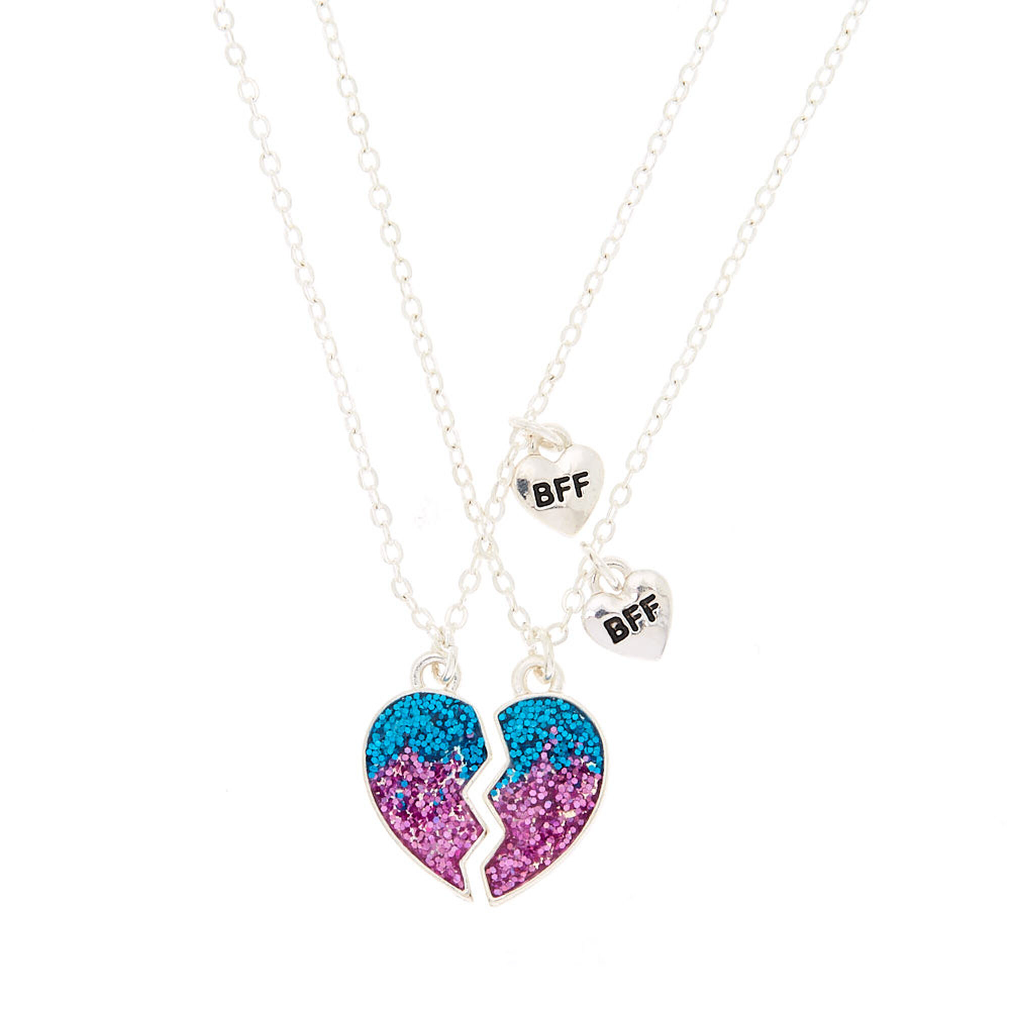 c0208a5b88f Best Friends Ombre Glitter Heart Pendant Necklaces - 2 Pack