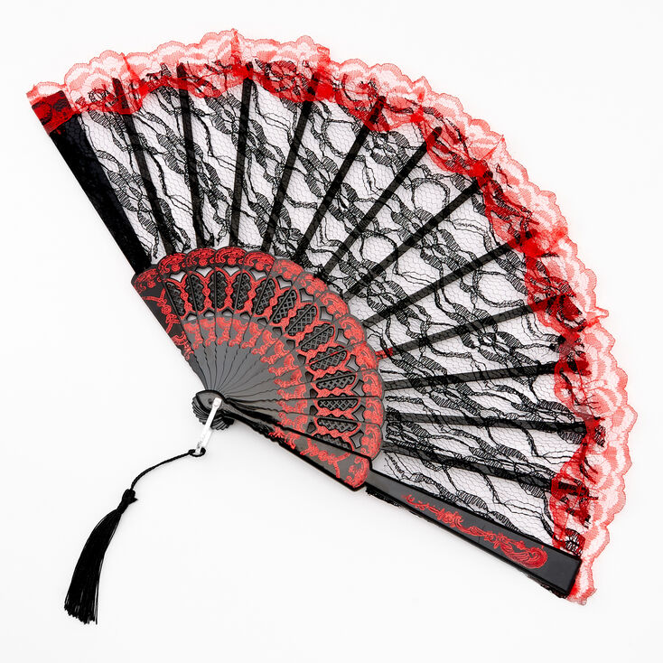Day Of The Dead Halloween Lace Folding Fan - Black,