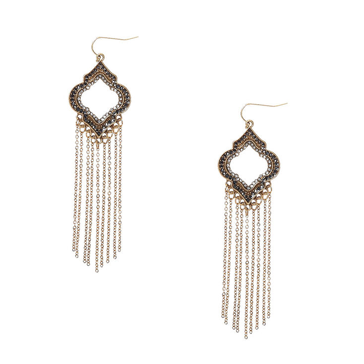 Geometric Open Medallion with Chain Fringe Drop Earrings,
