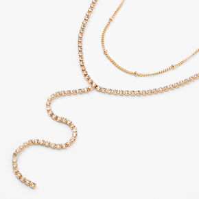 Gold Rhinestone Ball Y-Neck Multi Strand Necklace,