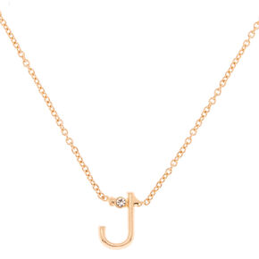 Gold Stone Initial Pendant Necklace - J,
