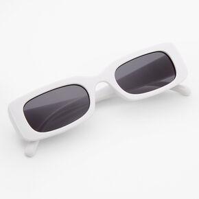 Rectangular Retro Sunglasses - White,