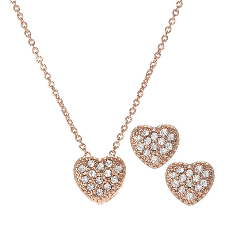 Rose Gold Crystal Heart Necklace & Earrings Set,