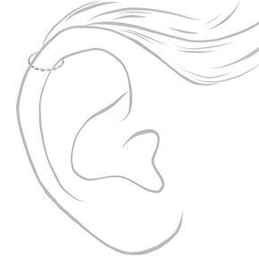 Sterling Silver 22G Twisted Leaf Cartilage Hoop Earrings - 3 Pack,