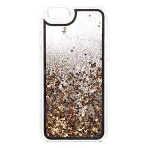 Black & Gold Glitter Liquid Fill Phone Case - Fits iPhone 6/7/8,