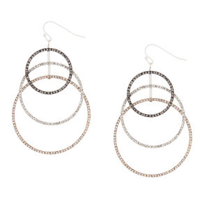 "Mixed Metal 2.5"" Cascading Circle Drop Earrings,"