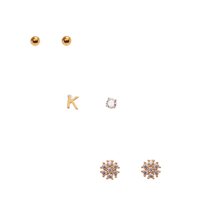"""18k Gold Plated """"K"""" Initial Stud Earring Set,"""