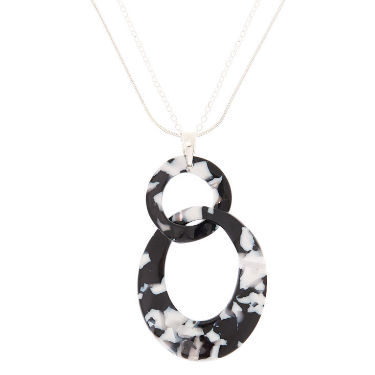 Black & White Resin Link Long Necklace,