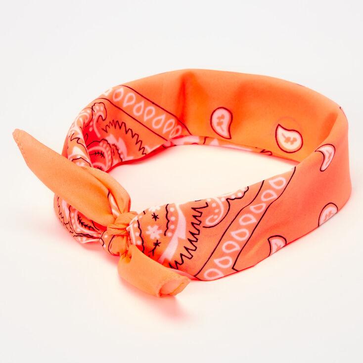 Neon Paisley Bandana Headwrap - Coral,