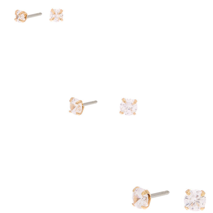 Gold Cubic Zirconia Graduated Round Stud Earrings - 3 Pack,