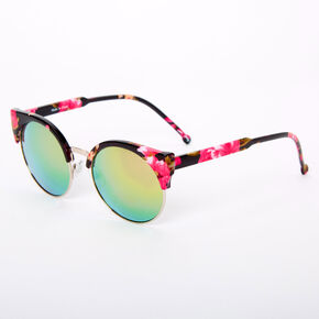Floral Round Cat Eye Browline Sunglasses - Black,