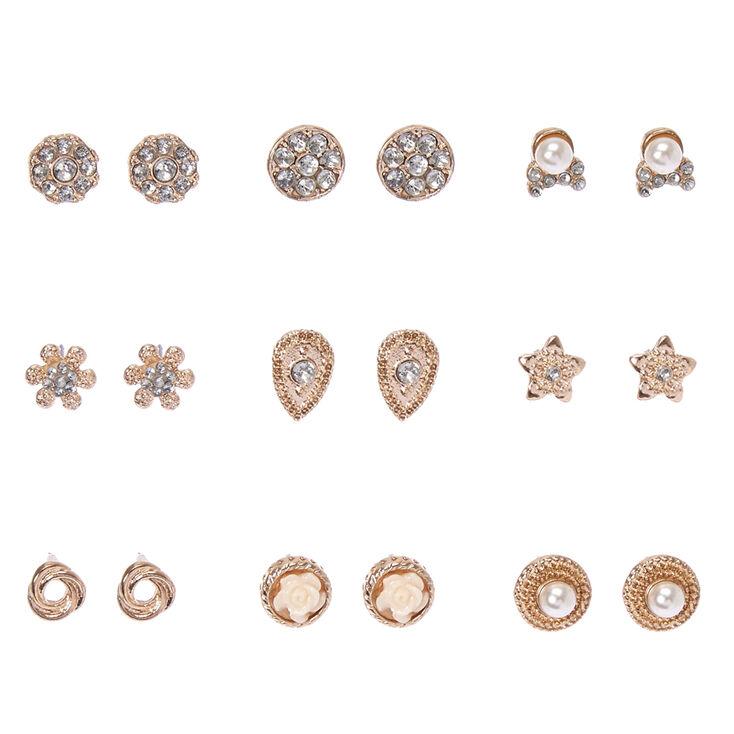 Rose Gold Tone Dainty Motif Stud Earrings,