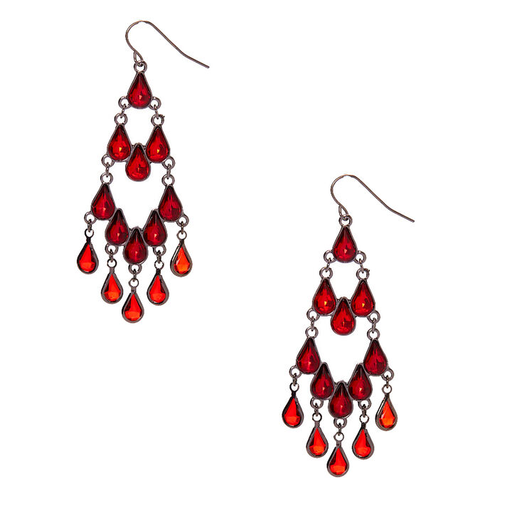 "Hematite 2.5"" Gothic Chandelier Drop Earrings - Red,"