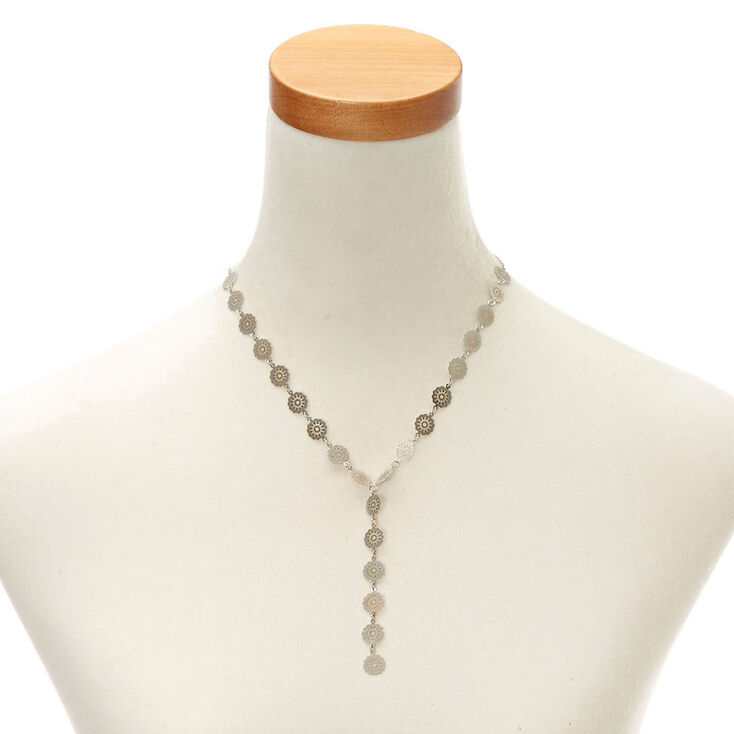 Silver-Tone Long Filigree Necklace,
