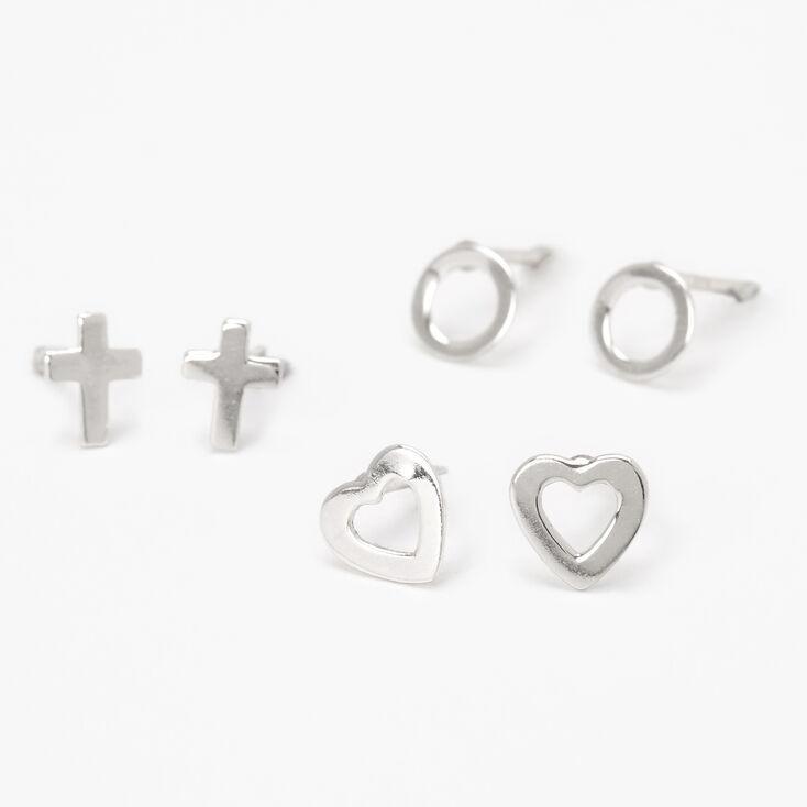 Sterling Silver Circle, Cross & Heart Stud Earrings - 3 Pack,