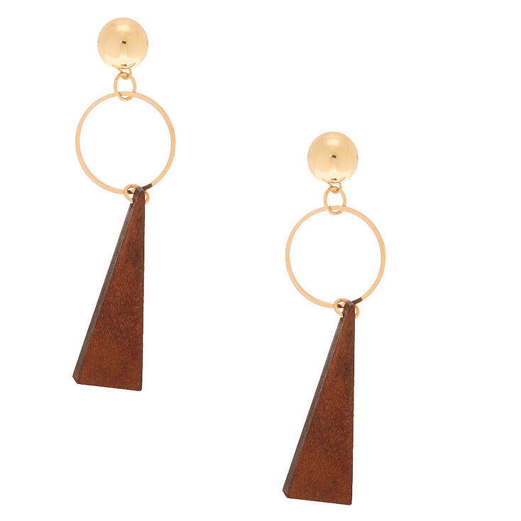 """Gold 2.5"""" Ring Triangle Drop Earrings - Brown,"""