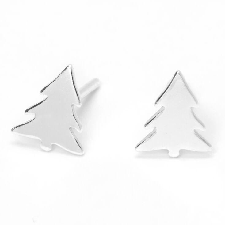 Sterling Silver Holiday Tree Stud Earrings,