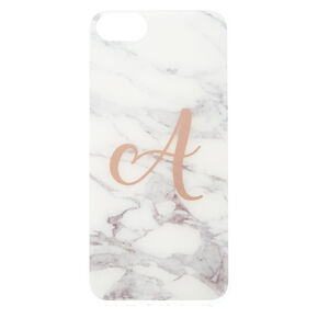 "Marbled ""A"" Initial Phone Case - White,"
