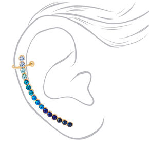 Ombre Mismatched Crawler Earring Set - Blue,