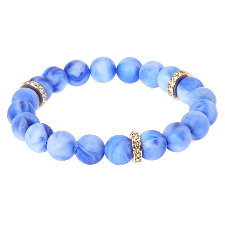 Blue Beaded Stretch Karma Bracelet,