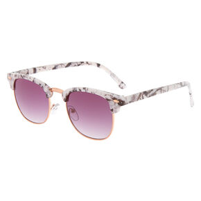 Rose Gold Marble Browline Sunglasses - White,