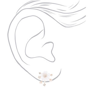Rhinestone & Pearl Floral Vine Stud Earrings,