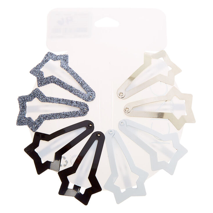 Neutral Star Snap Hair Clips - 8 Pack,