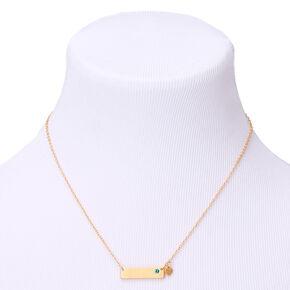 Gold December Birthstone Bar Pendant Necklace - Blue Zircon,