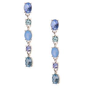"""Silver 2"""" Crystal Drop Earrings - Blue,"""