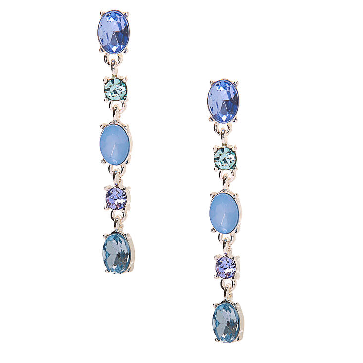 1920s Gatsby Jewelry- Flapper Earrings, Necklaces, Bracelets Icing Silver 2 Crystal Drop Earrings - Blue $7.99 AT vintagedancer.com