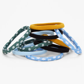 Mixed Floral Solid Rolled Hair Ties - 10 Pack,
