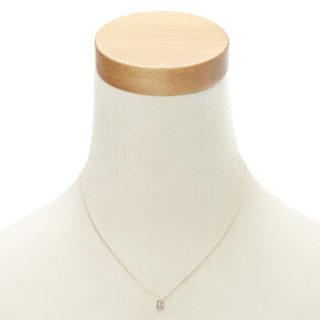 """Rose Gold Studded """"B"""" Initial Necklace,"""