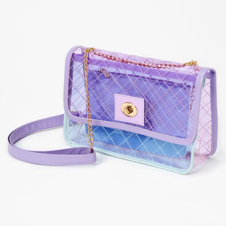 Pastel Colorblock See Through Crossbody Bag - Lilac,