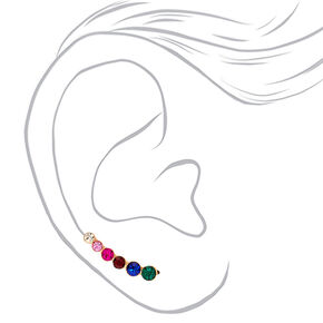 "Rose Gold 1"" Rainbow Graduated Crystal Ear Crawler Earrings,"
