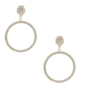 "1.5"" Circle Clip On Drop Earrings,"