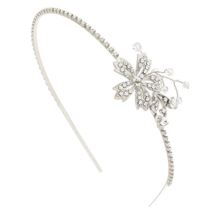 Silver Embellished Flower Headband,