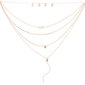 Gold Lots of Love Multi Strand Necklace,