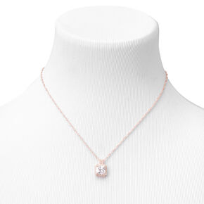 Rose Gold Cubic Zirconia Square Halo Pendant Necklace,