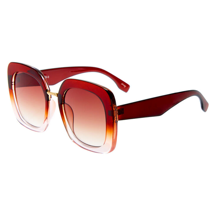 Oversized Square Ombre Sunglasses - Burgundy,